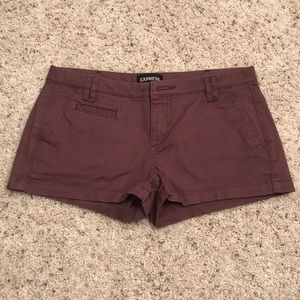 Express Berry Low Rise Twill Shorts